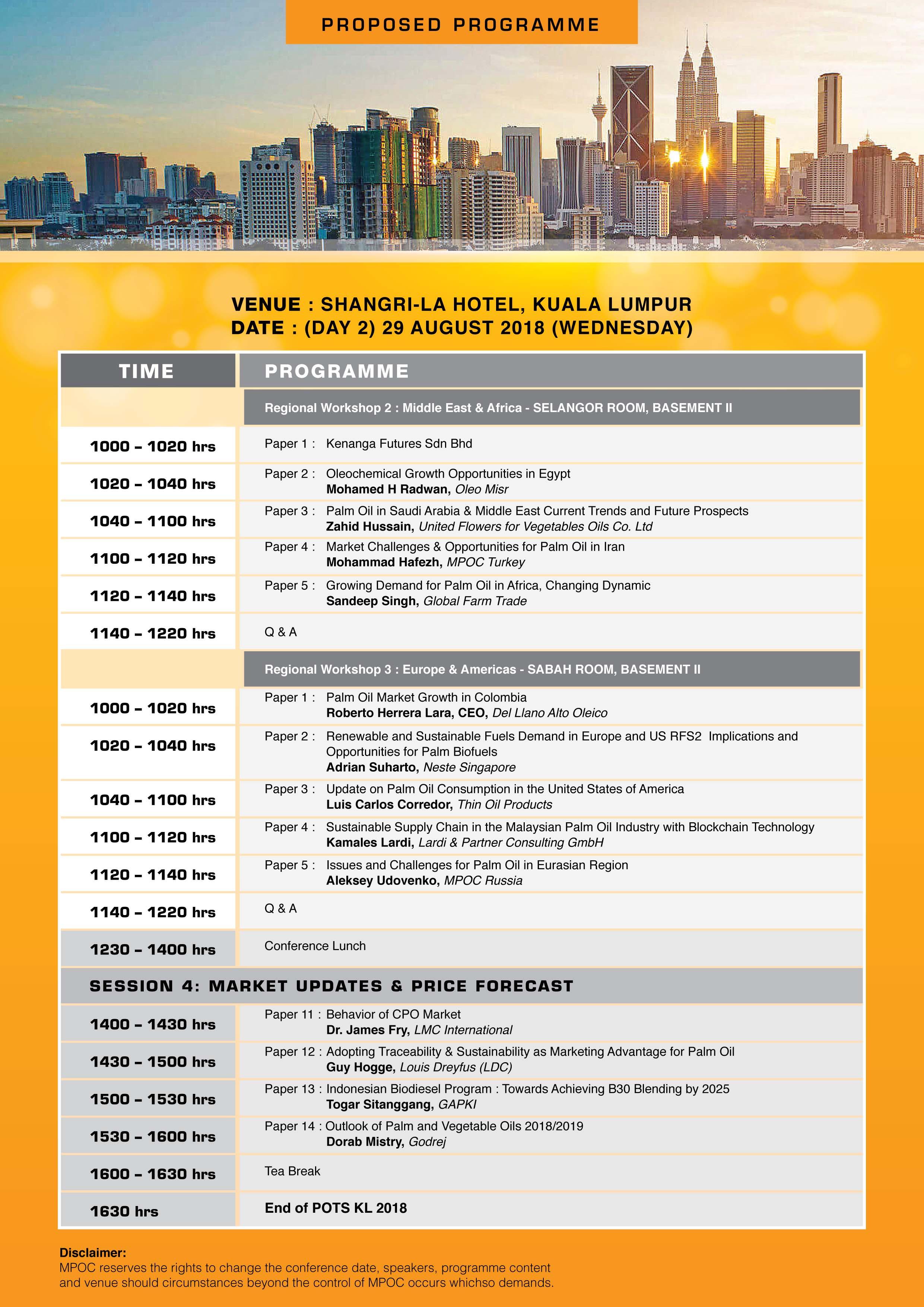 Palm Oil Trade Fair and Seminar (POTS) Kuala Lumpur 2018 – MPOC